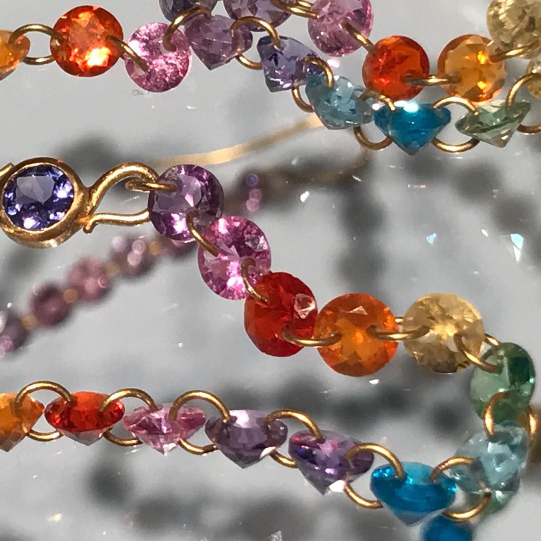 Pierced stones, a signature of @mariehelenedetaillac #Necklace in my top 3 of the #pfw2018  ___________ @marielisegaillard @magnapresse #smarties #colorful #playful #bubbling #onlyinparis #ruedetournon