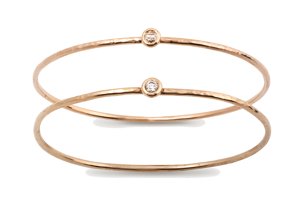 Paulette à Bicyclette - Marie-Kim bangle made of Fairmined red gold and moissanite